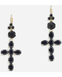 Dolce & Gabbana Devotion Earrings In Yellow Gold With Black Sapphires - Metallic