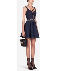 Dolce & Gabbana Short Denim Circle-Skirt Dress With Belt - Azul