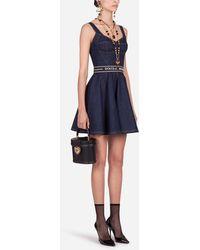 Dolce & Gabbana Short Denim Circle-Skirt Dress With Belt - Blau