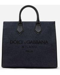 Dolce & Gabbana Bolso Shopper De Denim Con Logo Estampado - Azul