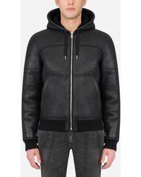 Dolce & Gabbana Shearling Jacket With Hood - Black