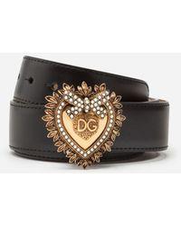 Dolce & Gabbana Devotion Belt In Lux Leather - Nero