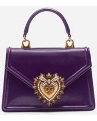 Dolce & Gabbana Small Devotion Bag In Calfskin - Lila