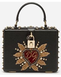 76fc666a1965 Dolce   Gabbana - Dolce Box Bag In Dauphine Calfskin With Patch Heart - Lyst