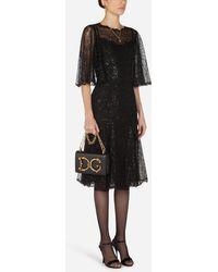 Dolce & Gabbana Lamé Lace Midi Dress - Nero