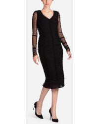 Dolce & Gabbana - Drapiertes Kleid Aus Tüllstretch - Lyst