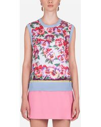 Dolce & Gabbana Ärmelloser Pullover Aus Seide Und Twill Veilchen-Print - Mehrfarbig
