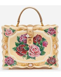 Dolce & Gabbana Dolce Box Bag In Golden Hand-Painted Wood - Multicolor
