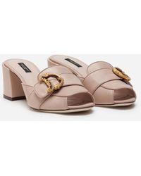 Dolce & Gabbana Slide Aus Nappa Mit Barockem Dg-Detail - Pink