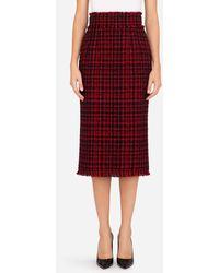 Dolce & Gabbana - Tartan Tweed Calf-Length Pencil Skirt - Lyst