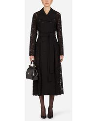 Dolce & Gabbana Belted Double-Breasted Crepe And Lace Coat - Noir