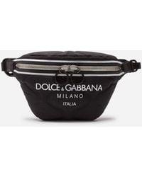 Dolce & Gabbana Nylon Palermo Tecnico Belt Bag With Logo Print - Noir