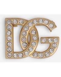 Dolce & Gabbana Rhinestone-detailed Dg Logo Brooch - Multicolour