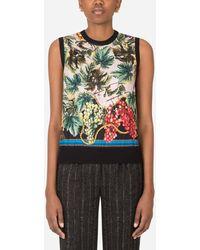 Dolce & Gabbana Sweater In Silk Cashmere And Twill With Grape Print - Multicolor