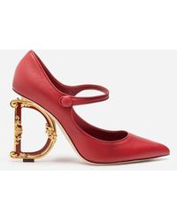 Dolce & Gabbana Nappa Leather Mary Jane With Baroque D&g Heel - Red