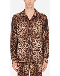 Dolce & Gabbana Pyjamahemd Aus Satin Leoprint - Braun