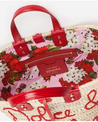 Dolce & Gabbana Kendra Coffa Bag In Straw With Thread Embroidery - Rot