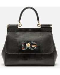 Dolce & Gabbana Small Calfskin Sicily Bag With Iguana-print And Dg Crystal Logo Patch - Black