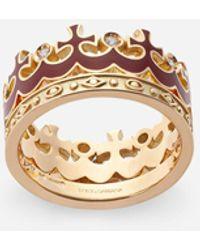 Dolce & Gabbana Crown Yellow Gold Ring With Burgundy Enamel Crown And Diamonds - Metallic