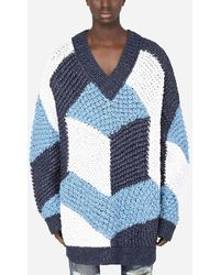 Dolce & Gabbana V-neck Sweater With Majolica Inlay - Blue