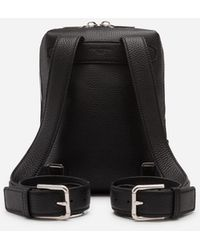 Dolce & Gabbana Small Palermo Backpack In Hammered Calfskin With Branded Plate - Negro