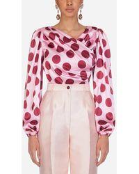 Dolce & Gabbana Top In Raso Stampa Macro Pois - Rosa