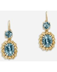 Dolce & Gabbana Herritage Earrings In Yellow Gold With Aquamarines And Yellow Sapphires - Metallic