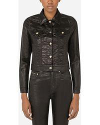 Dolce & Gabbana Laminated Denim Jacket - Black