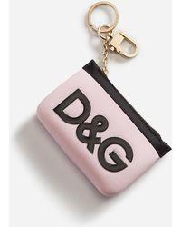 Dolce & Gabbana Debossed Logo Keyring - Pink