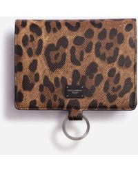 Dolce & Gabbana Large Wallet With Cross-Body Strap In Dauphine Calfskin With Leopard Print - Marrón