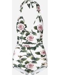 Dolce & Gabbana Ausgeschnittener Badeanzug Mit Ringen Und Tropischem Rosendruck - Mehrfarbig
