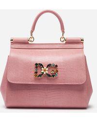 Dolce & Gabbana Kleine Handtasche Sicily Aus Kalbsleder Mit Iguana-Print Und Dg-Logo Mit Kristallen - Pink