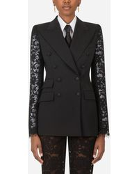 Dolce & Gabbana Double-Breasted Woolen Blazer With Lace Sleeves - Nero