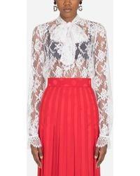 Dolce & Gabbana - Chantilly Lace Blouse - Lyst