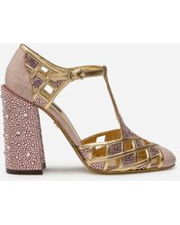 Dolce & Gabbana Sandalias T-Strap Con Estampado De Cocodrilo Lúcido Y Piedras Termostrass - Neutro