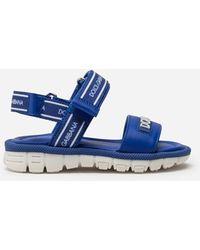 Dolce & Gabbana Sandale Beachwear Aus Kalbsleder Mit Logoband - Blau