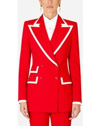 Dolce & Gabbana Double-Breasted Wool Blazer - Rosso