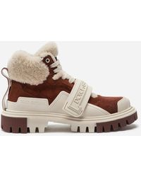 Dolce & Gabbana Split-grain Leather And Shearling Trekking Shoes With Logo - Multicolour