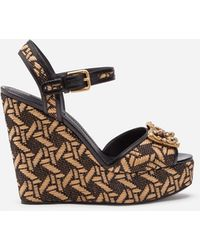 Dolce & Gabbana Braided Raffia Wedge Sandals With Dg Amore Logo - Black