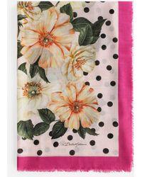 Dolce & Gabbana Camellia-print Silk And Cashmere Foulard (140 X 140) - Pink