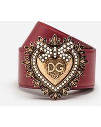 Dolce & Gabbana Devotion Belt In Lux Leather - Red
