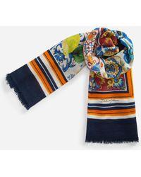 Dolce & Gabbana - Printed Cashmere And Silk Shawl - Lyst