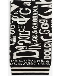 Dolce & Gabbana Cashmere Knit Scarf With Jacquard Lettering - Noir