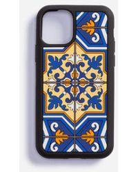Dolce & Gabbana Coque Pour Iphone 11 Pro En Caoutchouc Imprimé Majoliques - Bleu