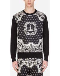 Dolce & Gabbana Rundhalspullover Aus Wolle Und Seide Mit Bandana-Print - Schwarz