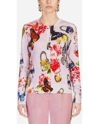 Dolce & Gabbana - Printed Cashmere/silk Cardigan - Lyst