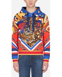 Dolce & Gabbana Kapuzen-Sweatshirt Aus Baumwolle Super Hero King-Print - Mehrfarbig