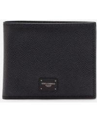 Dolce & Gabbana Dauphine Calfskin Bifold Wallet With Logo Plaque - Schwarz