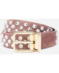 Dolce & Gabbana Suede Belt With Embroidery - Pink