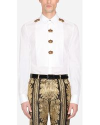 Dolce & Gabbana Cotton Gold-Fit Tuxedo Shirt With Patch - Multicolore